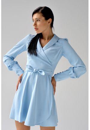 Голубое коктейльное платье мини
