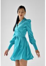 Шелковое платье мини в изумрудном цвете
