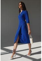 Деловое платье длины миди синего цвета