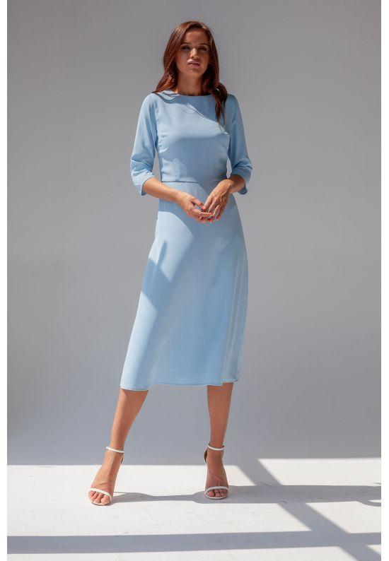 Голубое элегантное платье миди