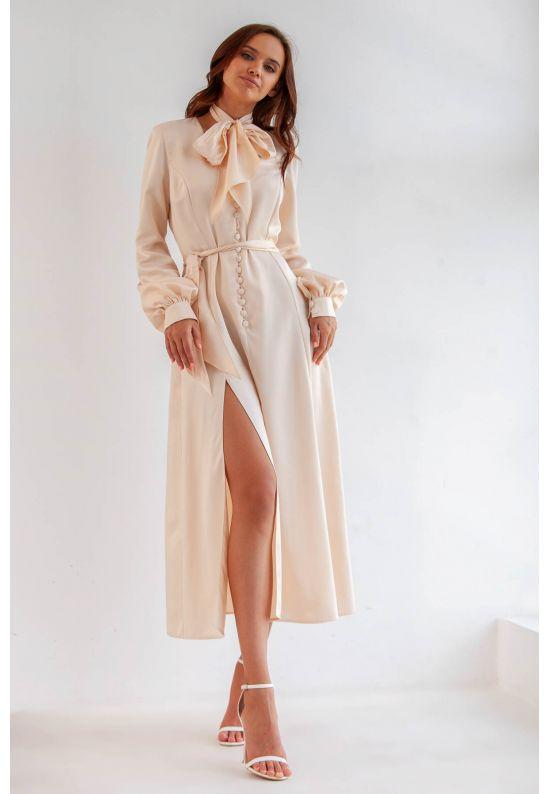 Платье миди из нежного атласа с шарфом