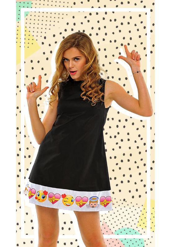 А-силуэтное черное платье