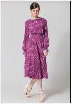 Баклажанное платье миди в горошек