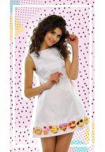 Белое А-силуэтное платье