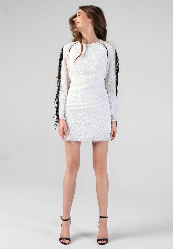 Белое коктейльное платье мини с бахромой