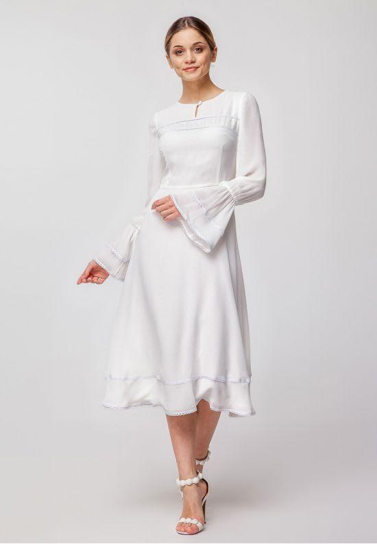 Белое шифоновое платье миди