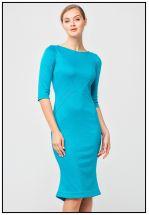 Бирюзовое платье-футляр