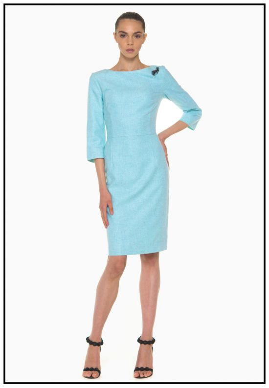 Бирюзовое платье из кашемира