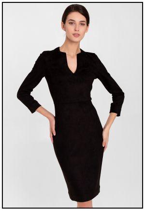 Черное деловое платье из экозамши