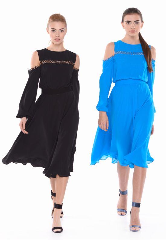 Черное платье из струящегося шифона