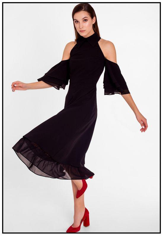 Черное платье миди с открытыми плечами