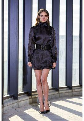 Черное платье мини из органзы