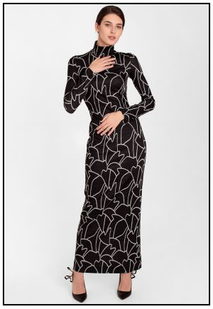 Черное платье в пол с абстрактным рисунком