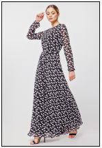Чёрное платье макси с принтом