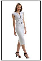 Деловое белое платье миди