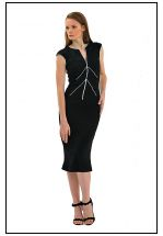 Деловое черное платье миди