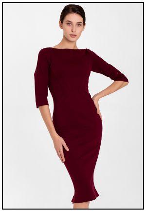 Деловое платье миди в цвете бордо