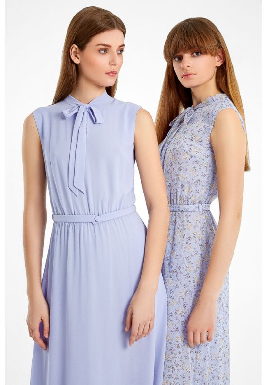 Длинное шифоновое платье в фиалковом цвете