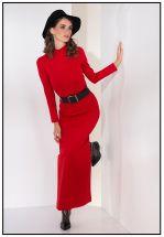 Длинное трикотажное платье в красном цвете
