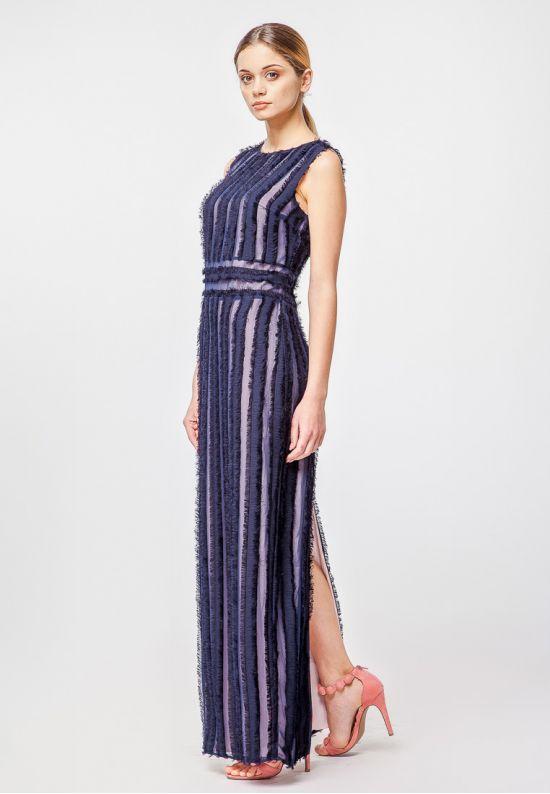 Эксклюзивное платье макси темно-синего цвета