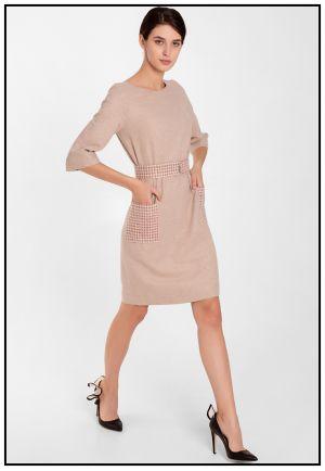 Элегантное бежевое платье из кашемира