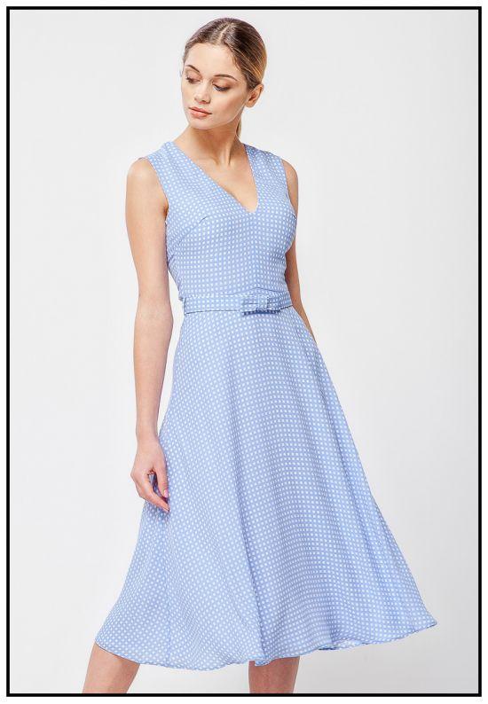 Элегантное голубое платье в клеточку