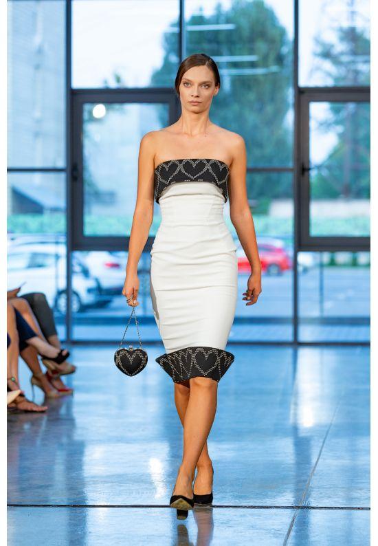 Элегантное коктейльное платье-бюстье