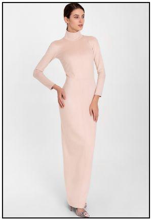 Элегатное платье в пол из экозамши