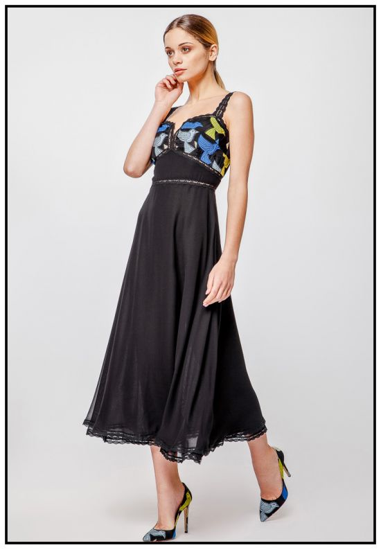 Элегантный сарафан миди чёрного цвета