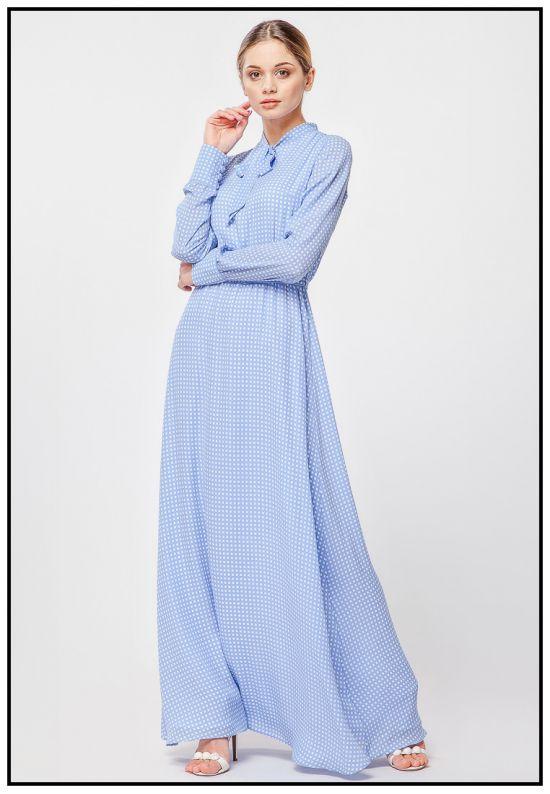 Голубое платье макси с рукавами