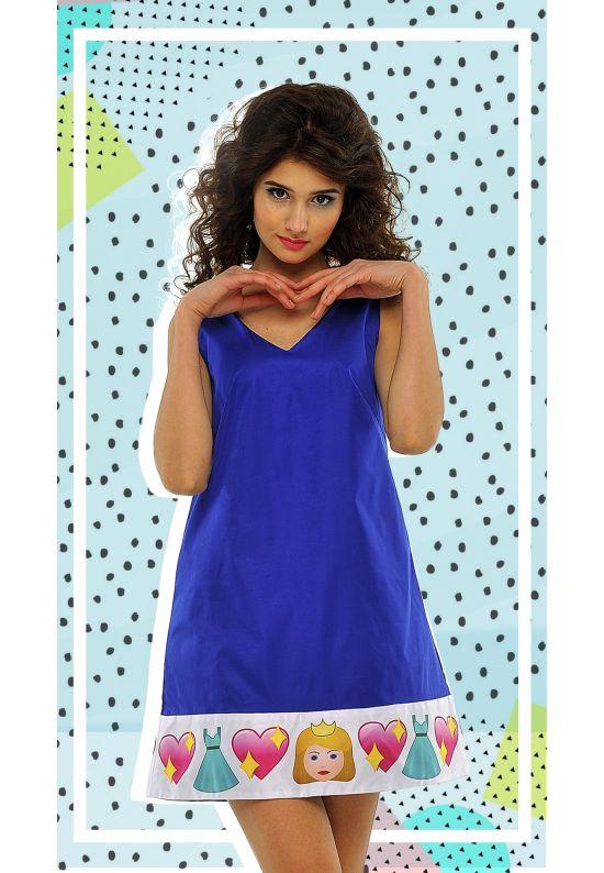 Кокетливое платье-трапеция синего цвета