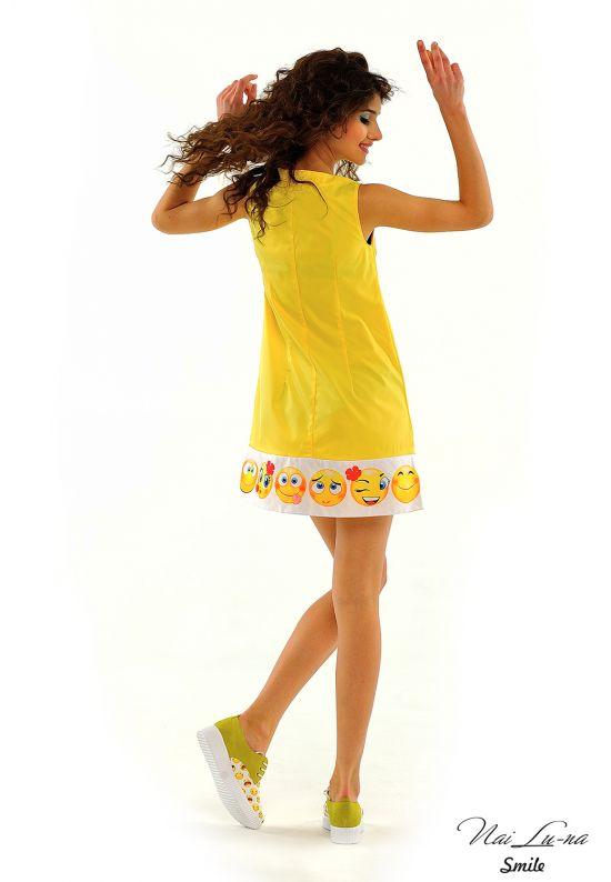 Кокетливое платье трапеция ярко-желтого цвета