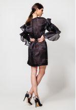 Коктейльное черное платье из органзы