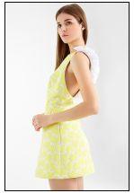Коктейльное мини платье в лимонном цвете