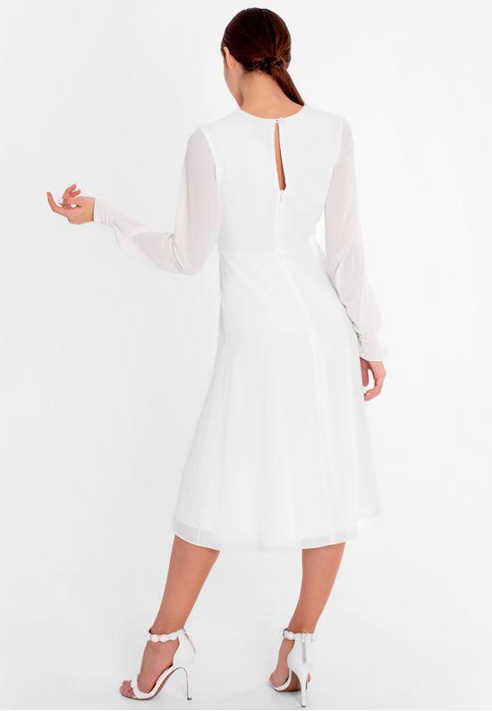 Коктейльное платье миди молочного цвета