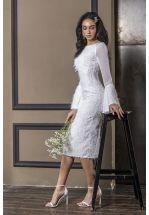 Коктейльное платье миди с рукавами-клеш