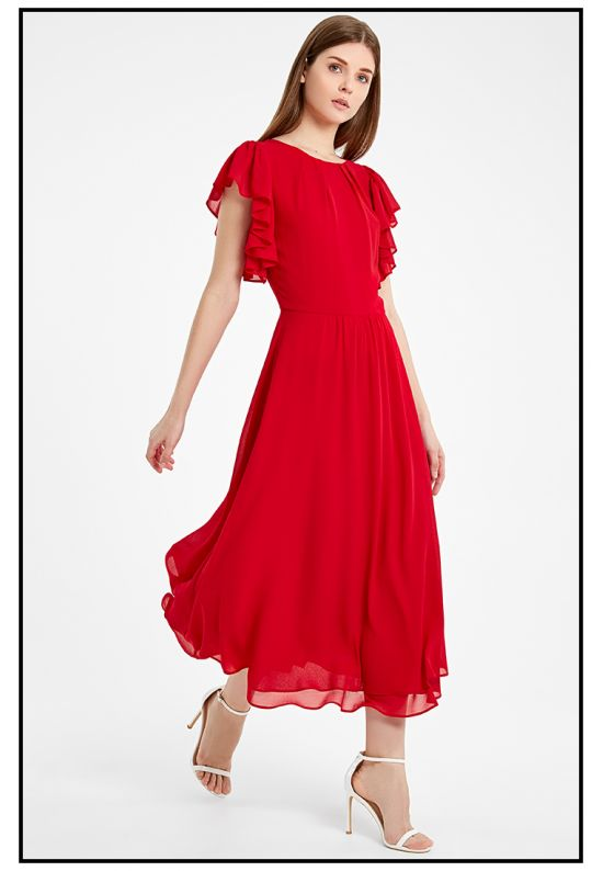 Коктейльное платье миди в алом цвете