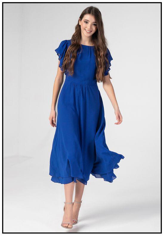 Коктейльное платье в цвете электрик
