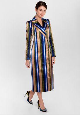 Коктейльное платье-жакет в полоску