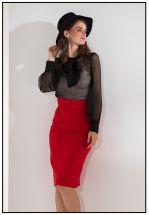 Красная облегающая юбка