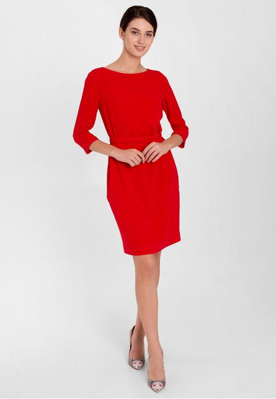 Красное деловое платье до колена
