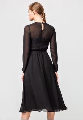 Легкое платье из чёрного шифона