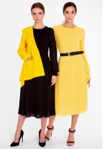 Легкое платье миди желтого цвета