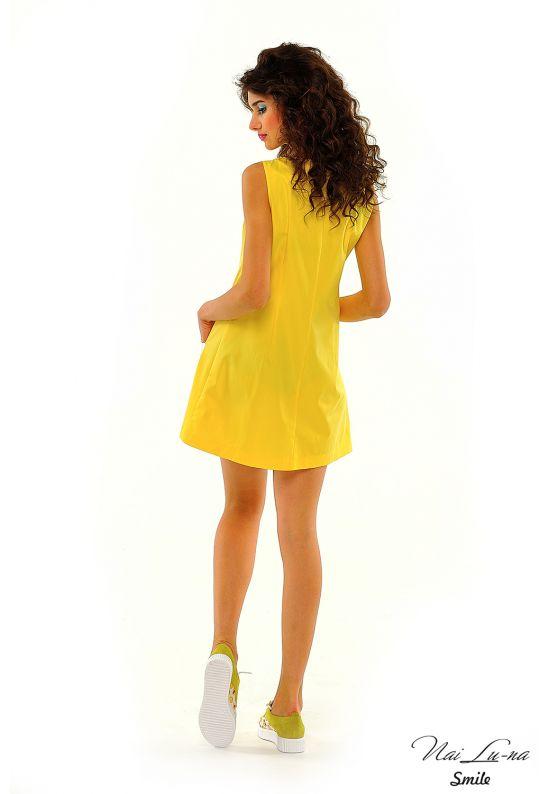 Летнее платье трапеция ярко-желтого цвета