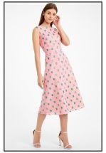 Летнее розовое платье миди