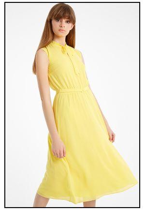 Летнее желтое платье миди