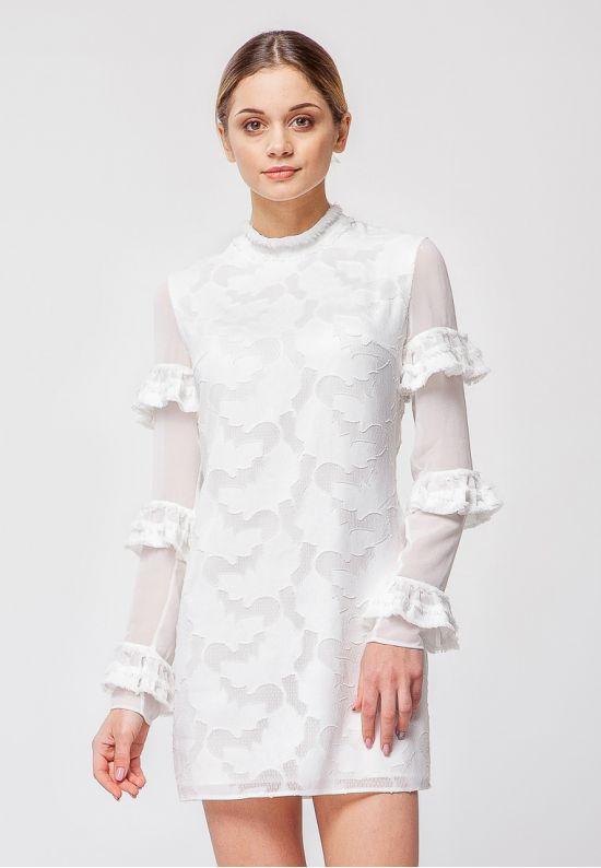 Молочно-ванильное платье мини