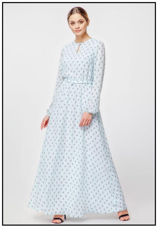 Мятное платье макси с принтом