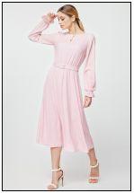 Нежно-розовое платье в полоску