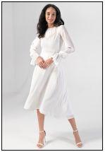 Нежное белое платье миди